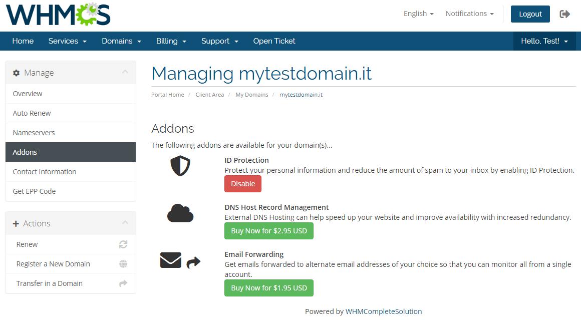 NIC IT Registrar For WHMCS: Module Screenshot 7