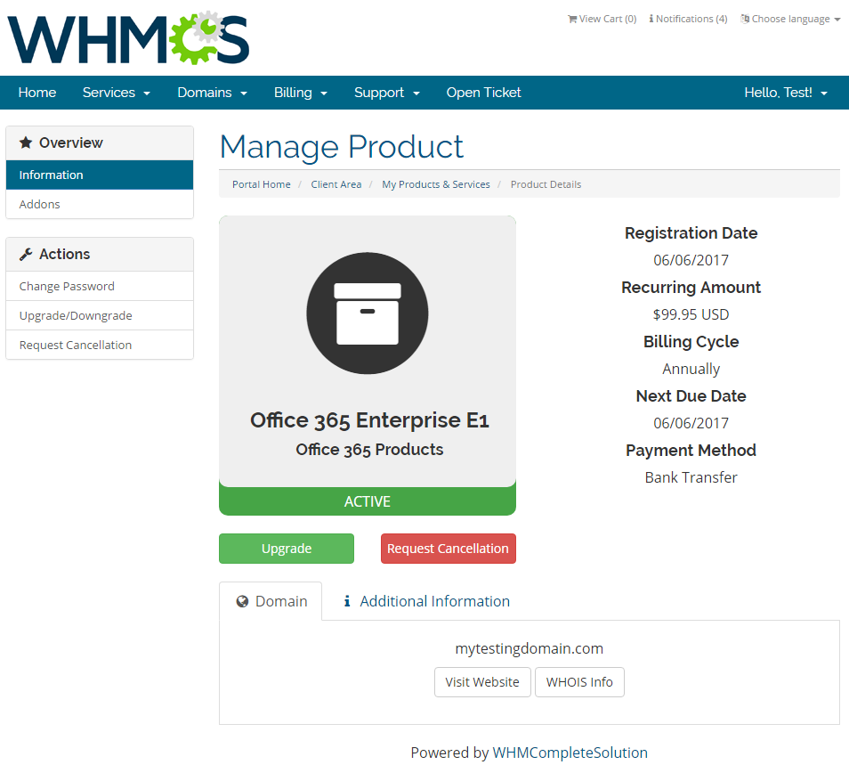 Office 365 For WHMCS: Screen 2