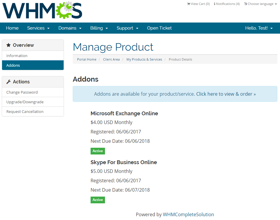 Office 365 For WHMCS: Screen 3