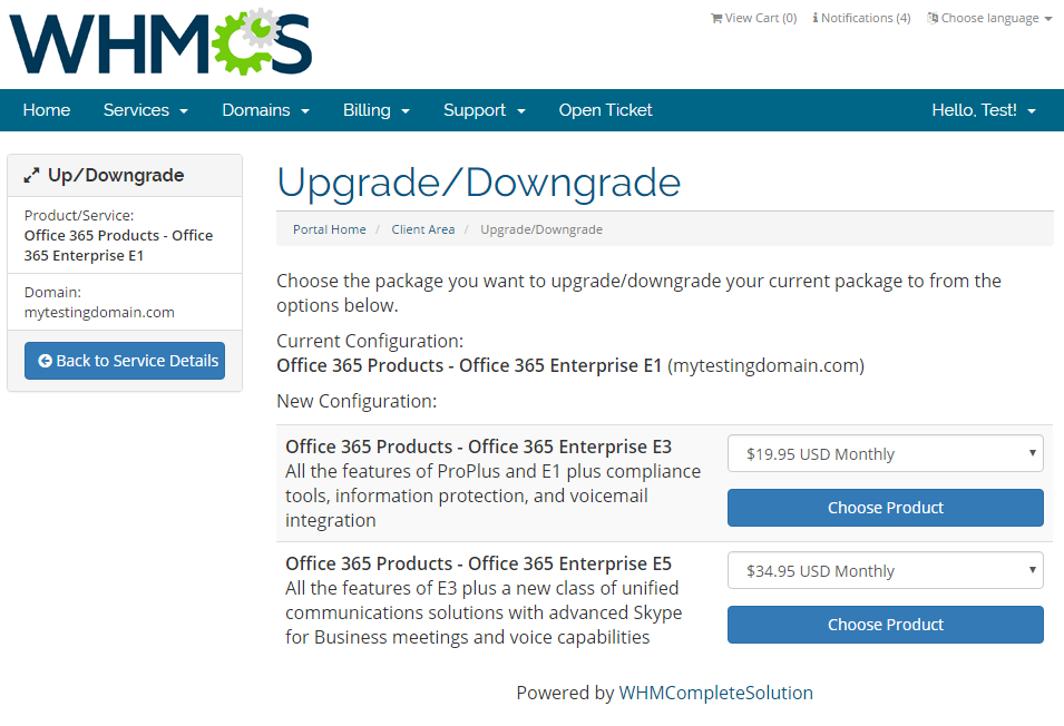 Office 365 For WHMCS: Screen 5