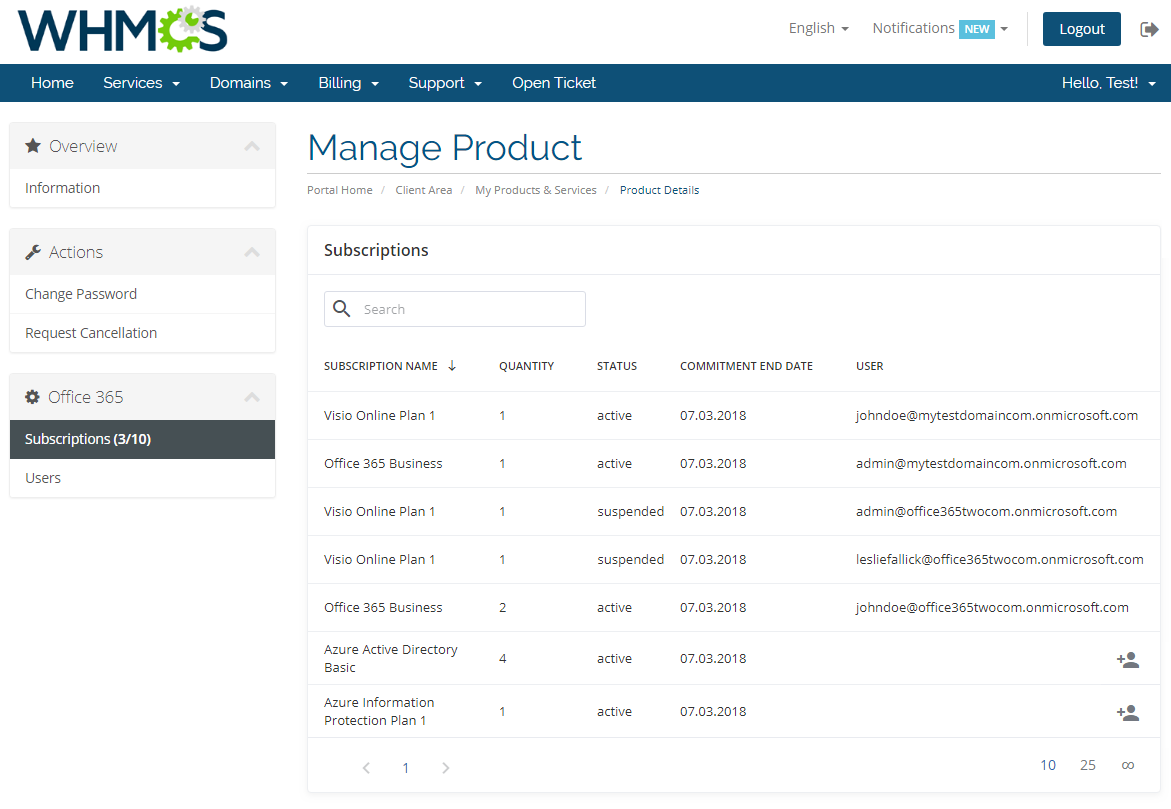 Office 365 For WHMCS: Screen 7