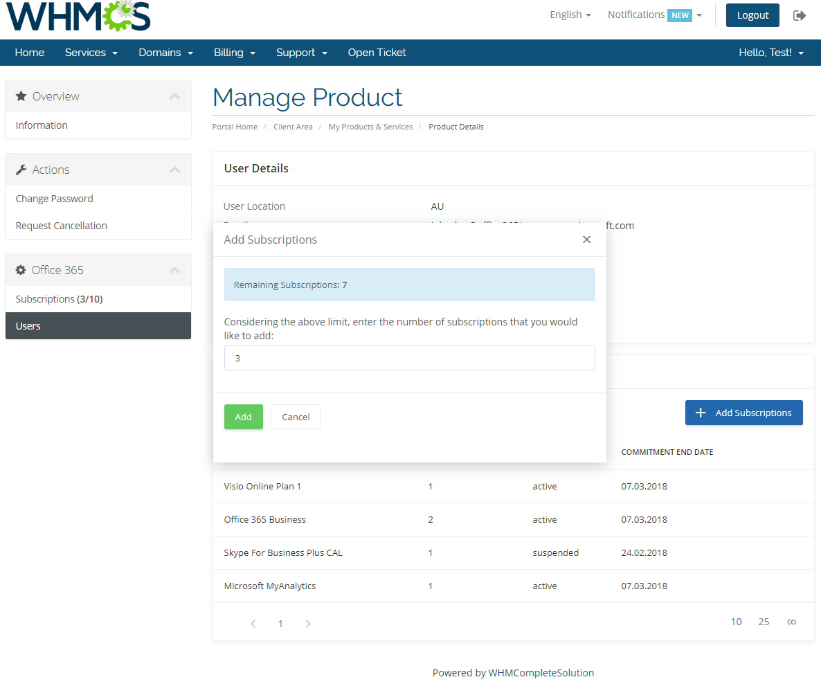 Office 365 For WHMCS: Screen 11