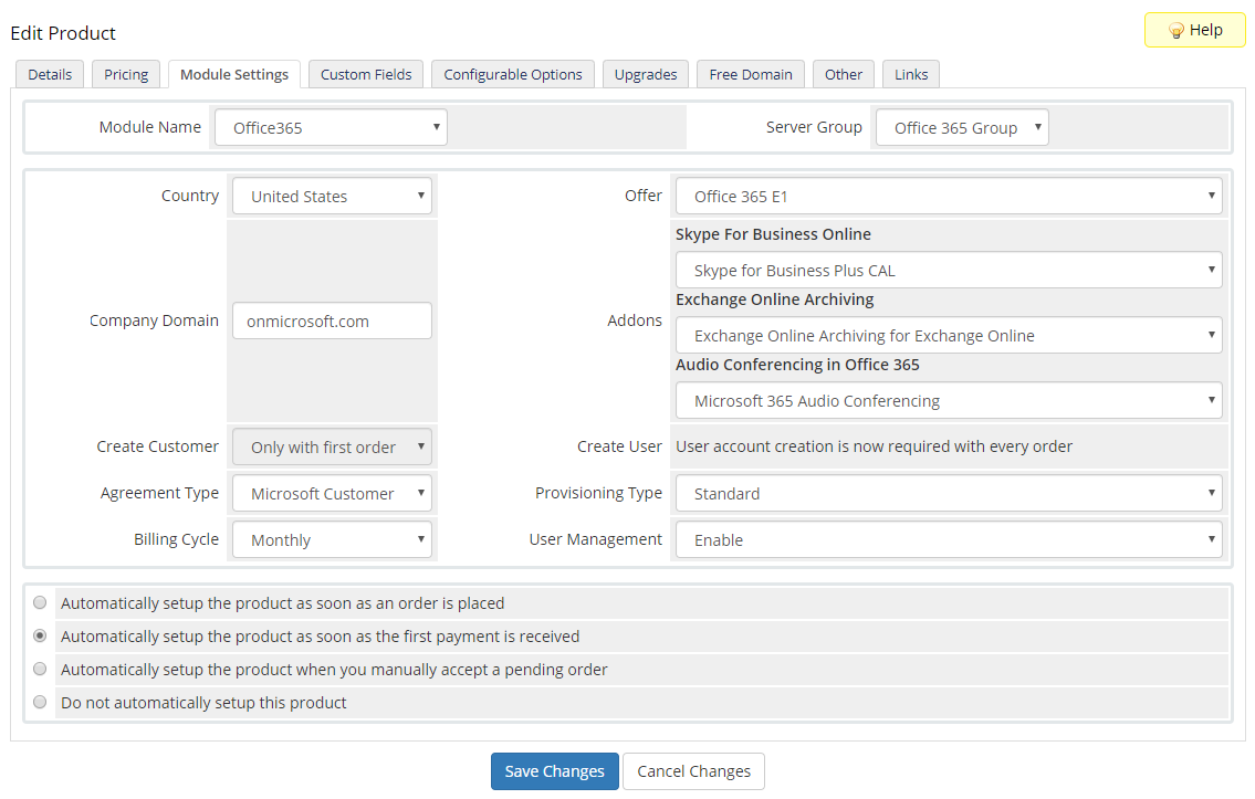 Office 365 For WHMCS: Module Screenshot 13