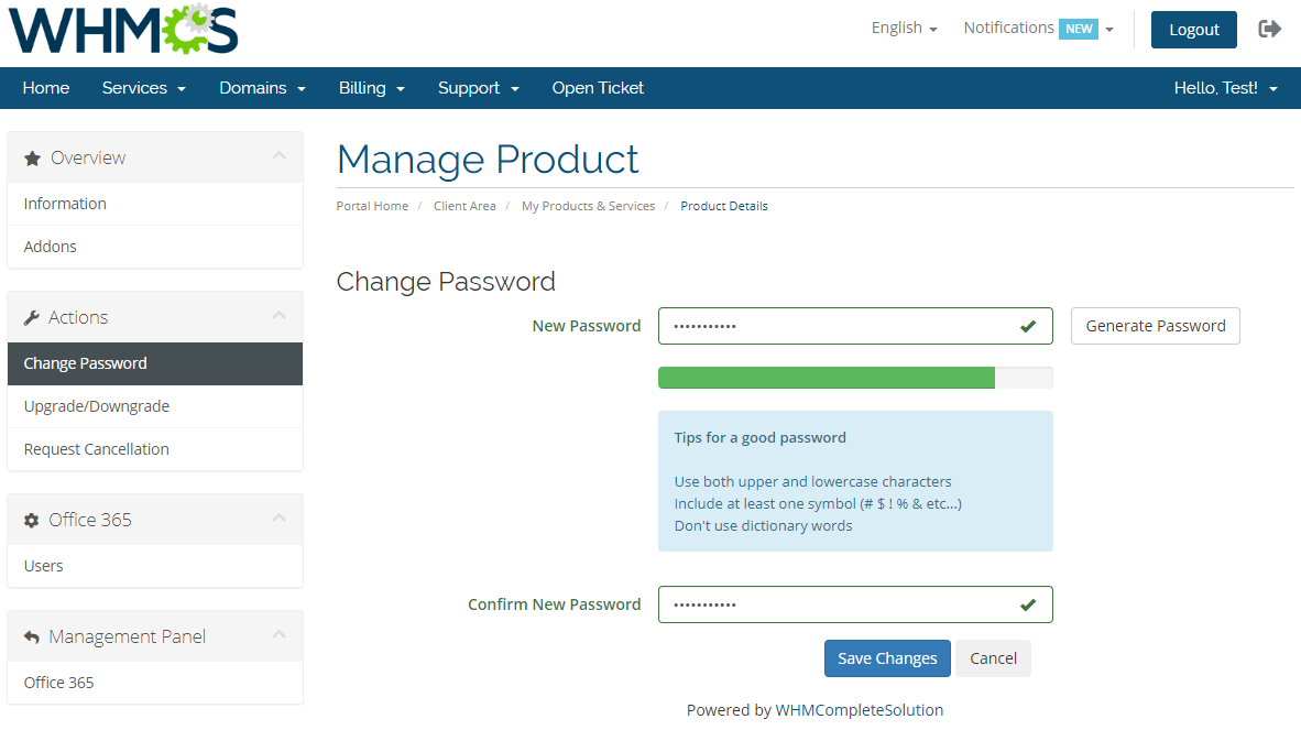 Office 365 For WHMCS: Module Screenshot 4