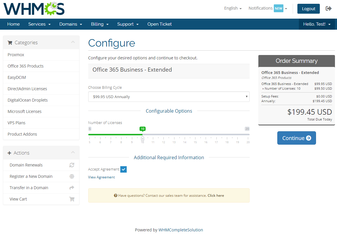 Office 365 For WHMCS: Module Screenshot 6