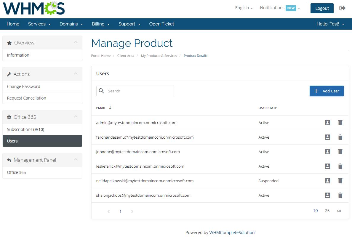 Office 365 For WHMCS: Module Screenshot 8