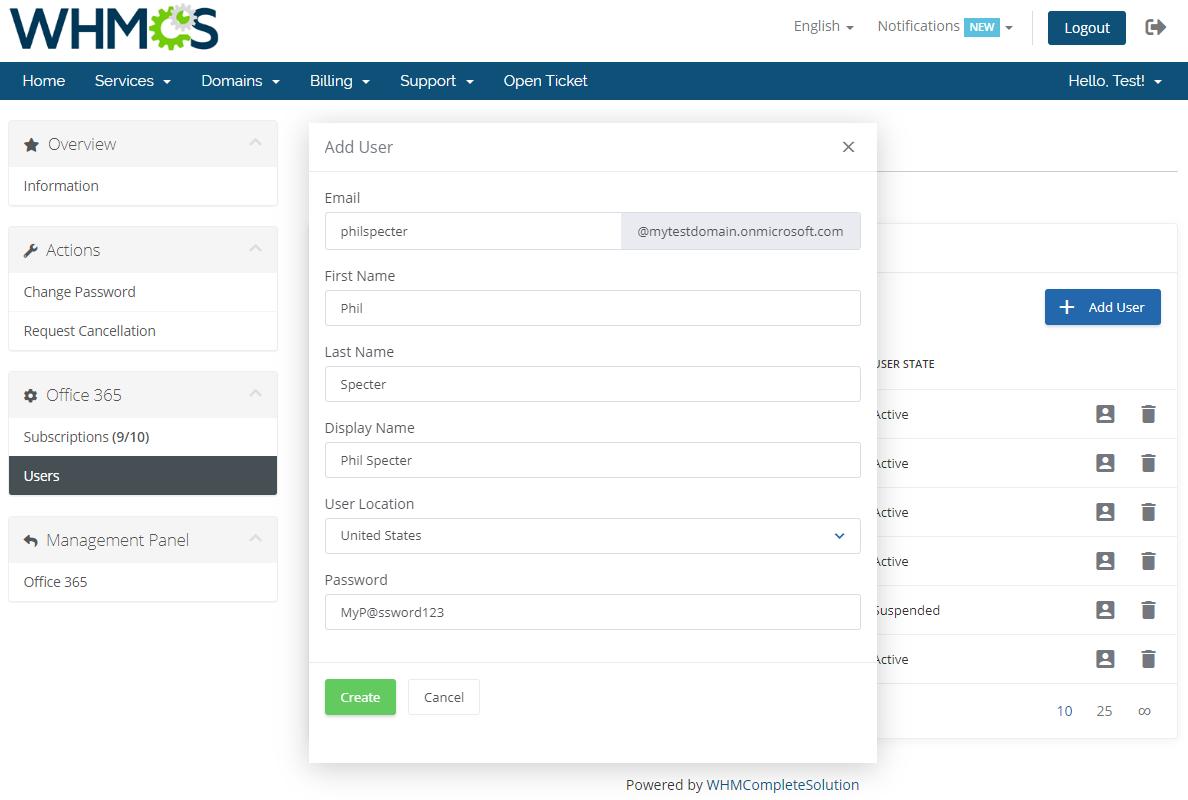 Office 365 For WHMCS: Module Screenshot 9