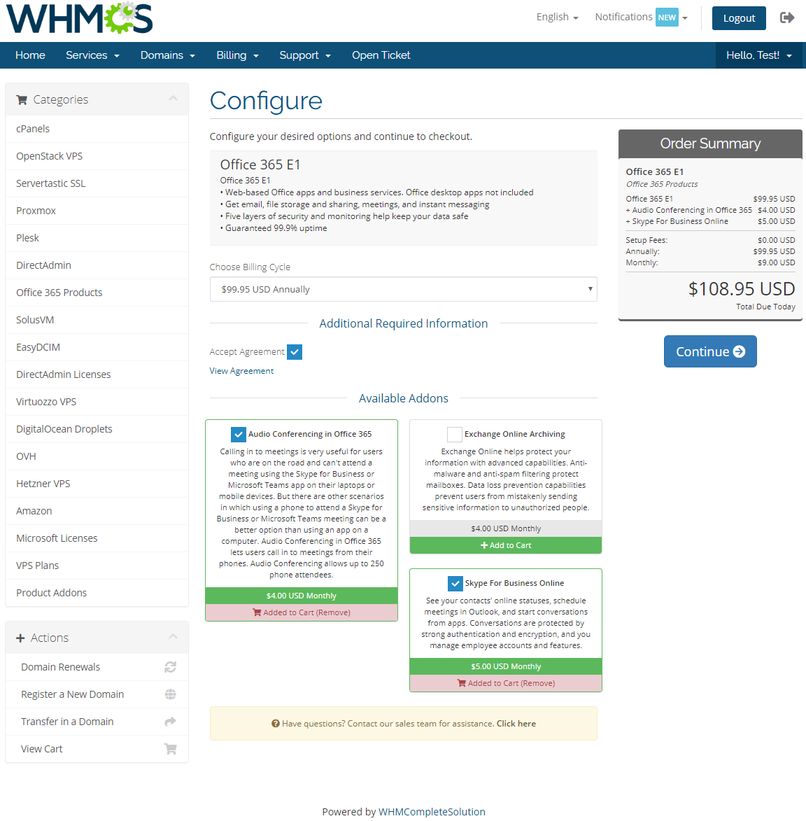 Office 365 For WHMCS: Module Screenshot 1