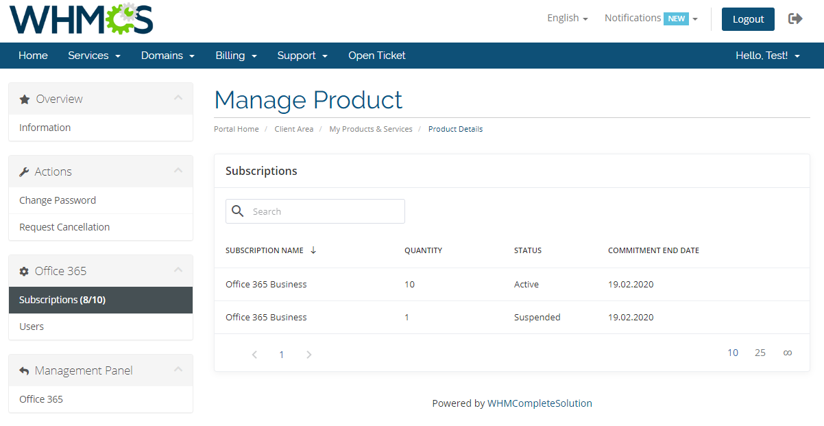 Office 365 For WHMCS: Module Screenshot 7