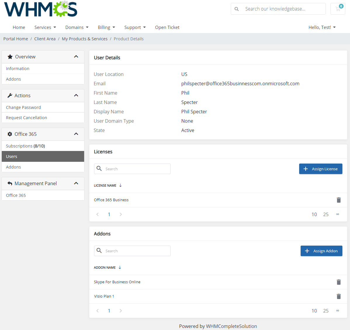 Office 365 For WHMCS: Module Screenshot 10