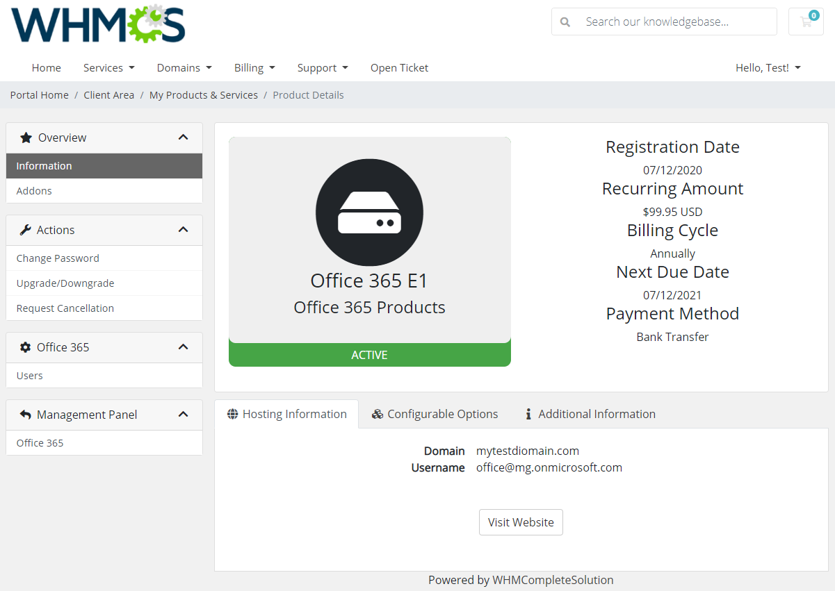 Office 365 For WHMCS: Module Screenshot 2