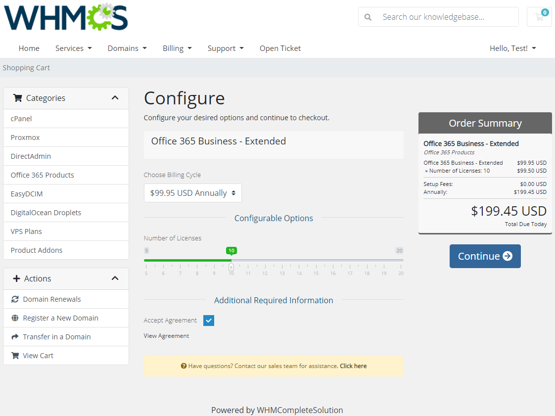 Office 365 For WHMCS: Module Screenshot 6