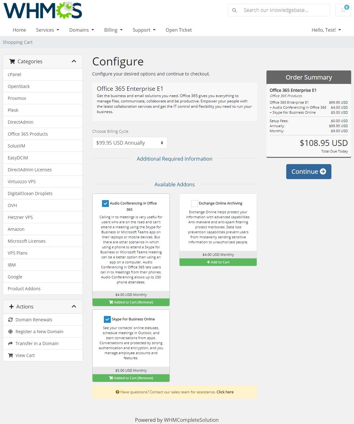 Office 365 For WHMCS: Module Screenshot 1