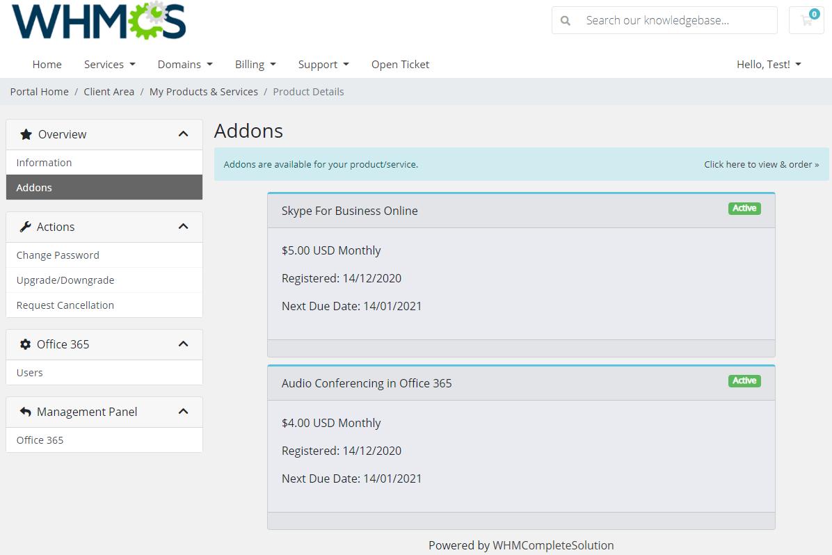 Office 365 For WHMCS: Module Screenshot 3