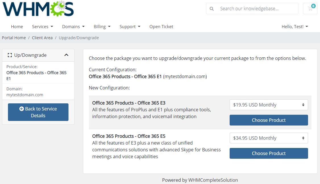 Office 365 For WHMCS: Module Screenshot 5