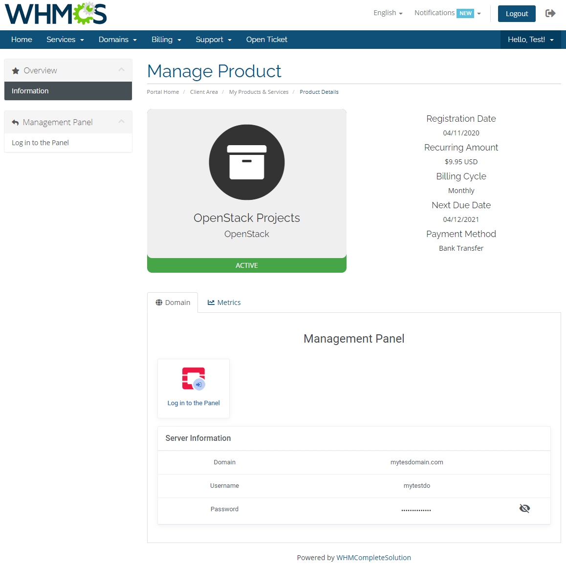 OpenStack Projects For WHMCS: Module Screenshot 1