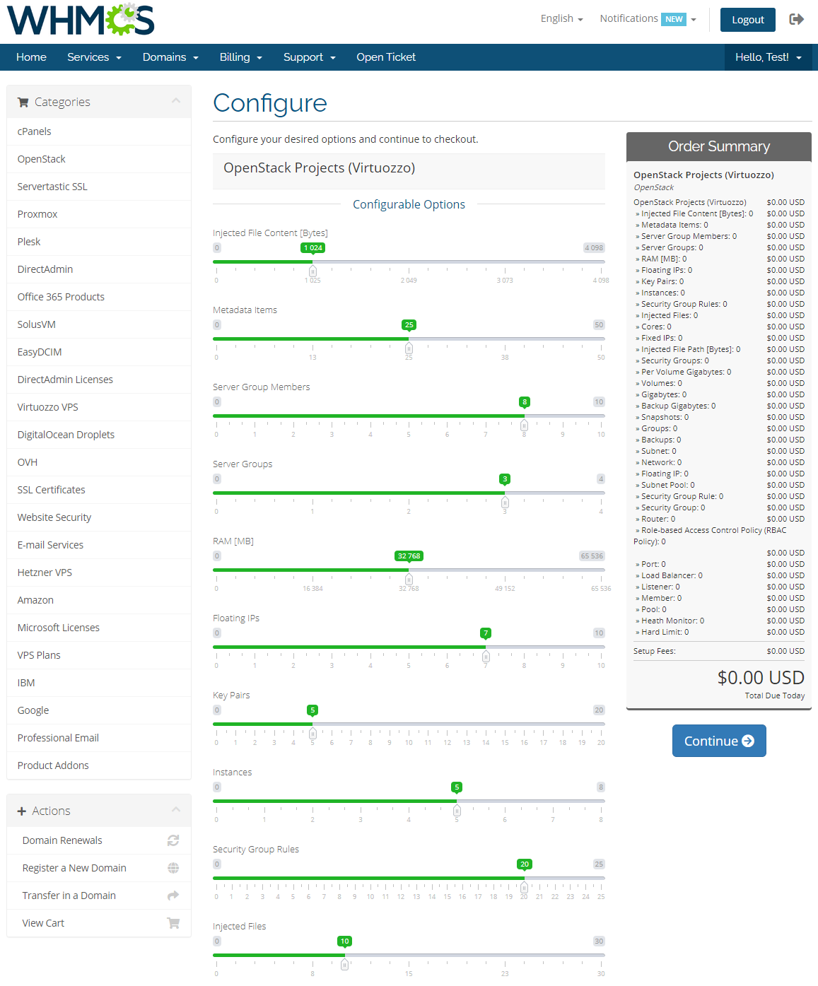 OpenStack Projects For WHMCS: Module Screenshot 2