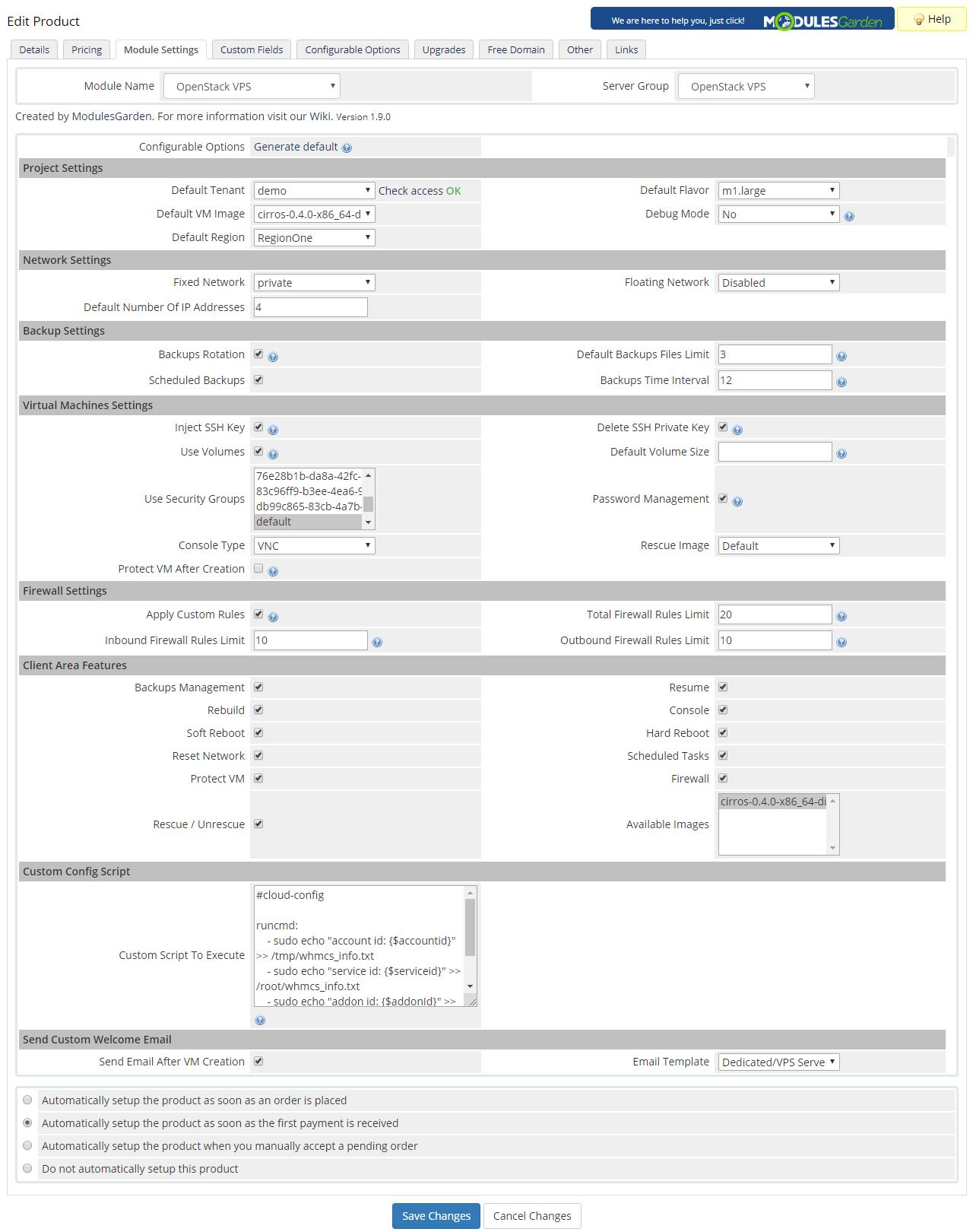 OpenStack VPS & Cloud For WHMCS: Module Screenshot 11