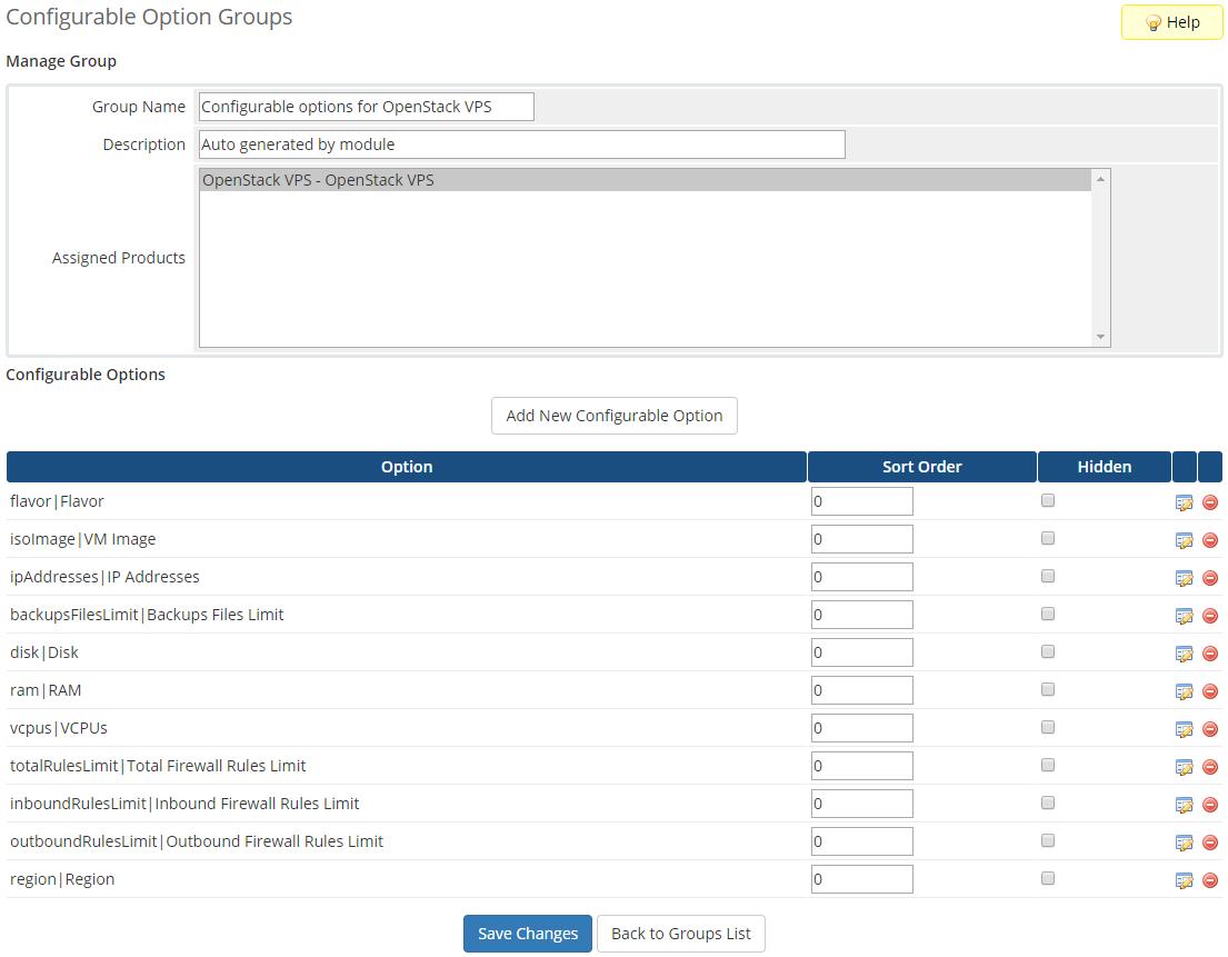 OpenStack VPS & Cloud For WHMCS: Module Screenshot 12