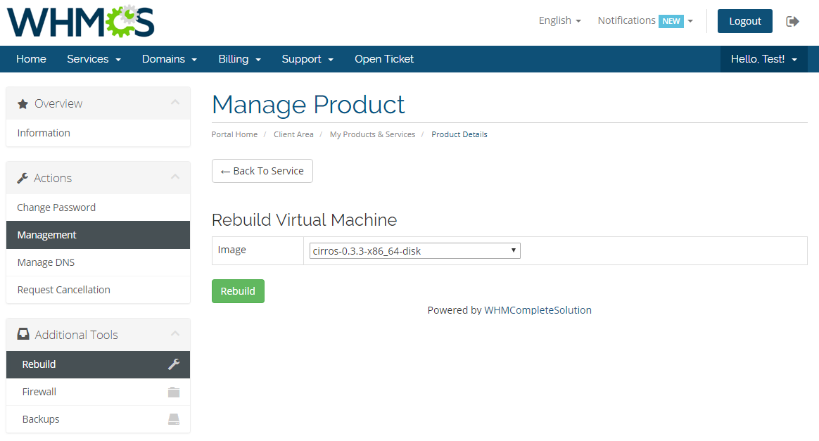 OpenStack VPS & Cloud For WHMCS: Module Screenshot 3