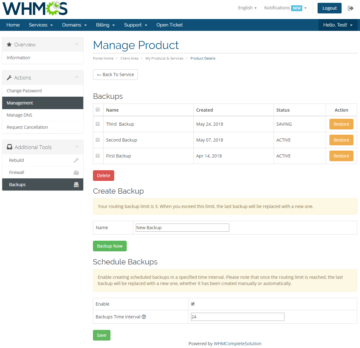 OpenStack VPS & Cloud For WHMCS: Module Screenshot 6
