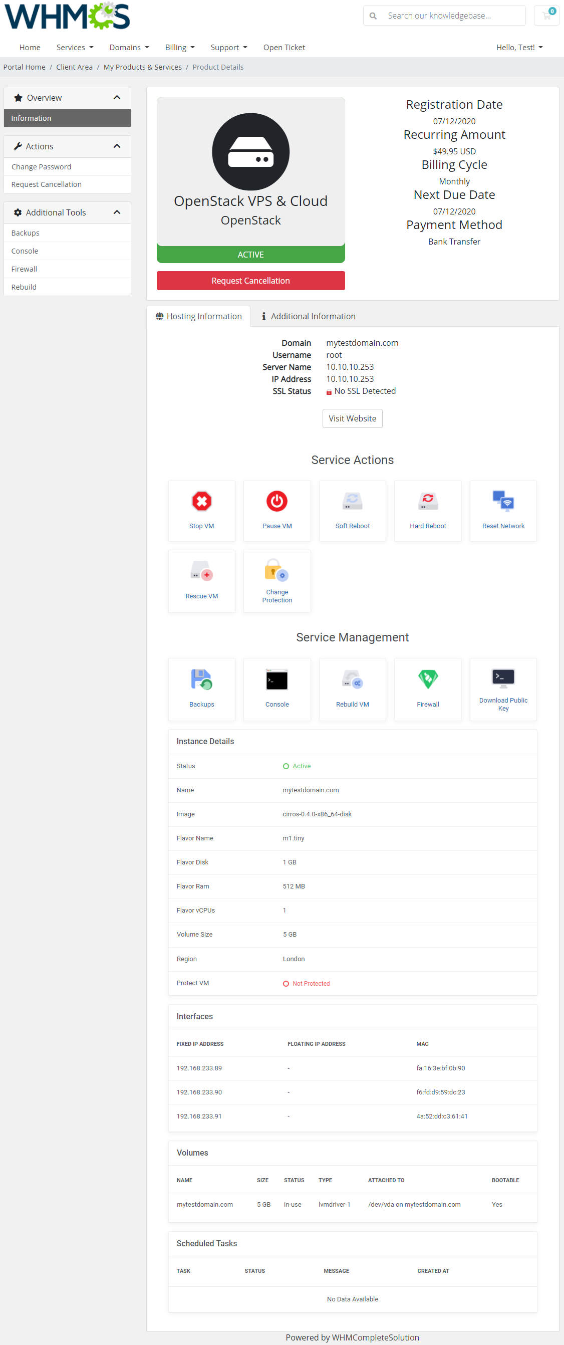 OpenStack VPS & Cloud For WHMCS: Module Screenshot 1