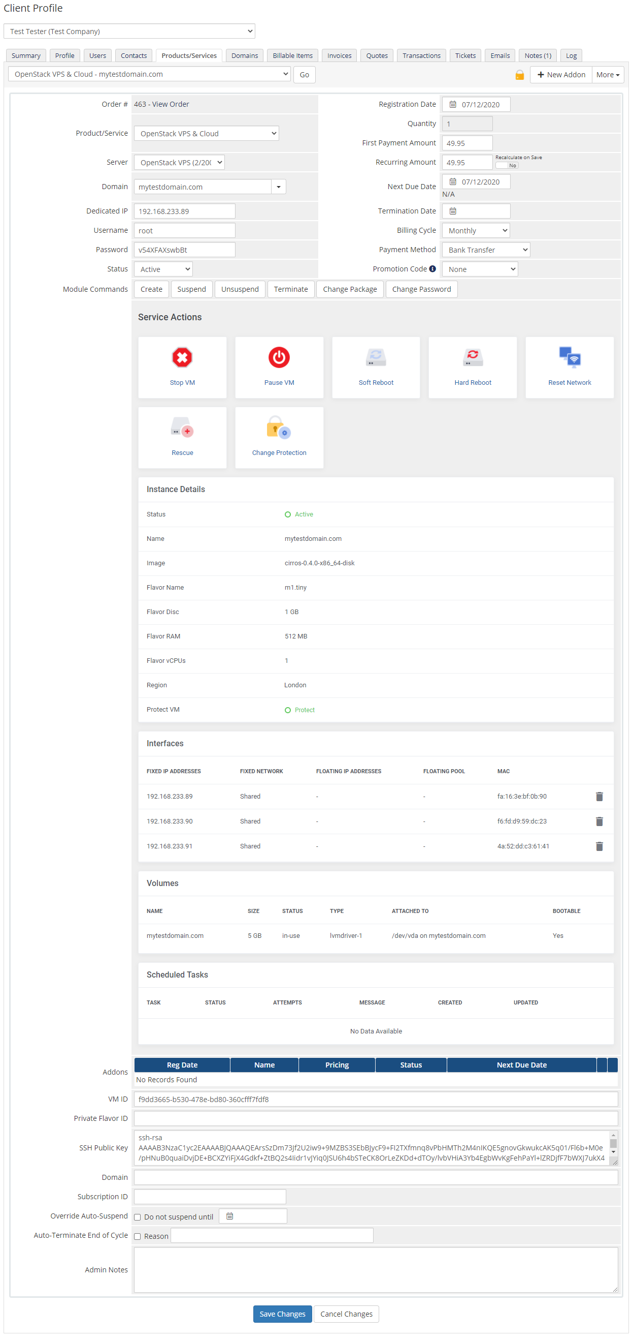 OpenStack VPS & Cloud For WHMCS: Module Screenshot 9