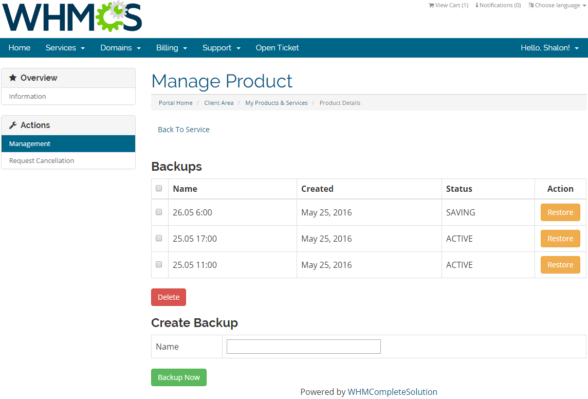 OVH Public Cloud For WHMCS: Screen 2