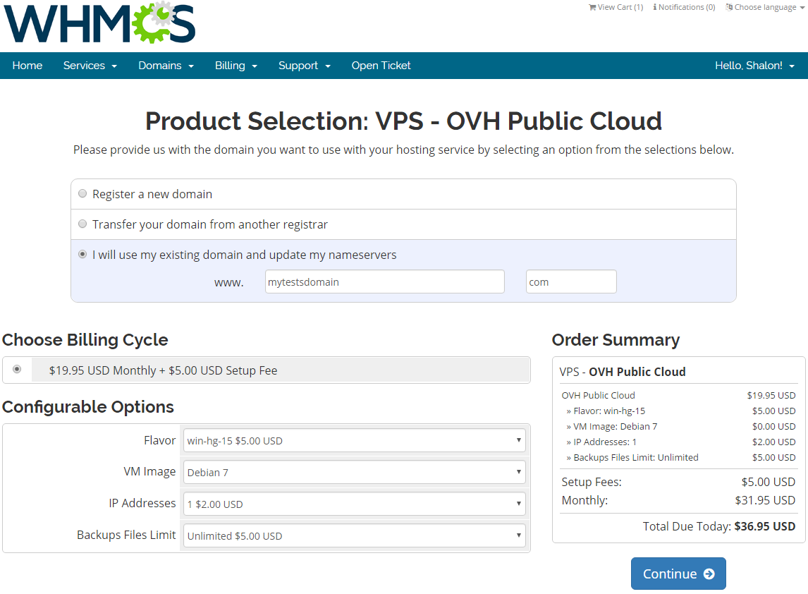 OVH Public Cloud For WHMCS: Screen 5