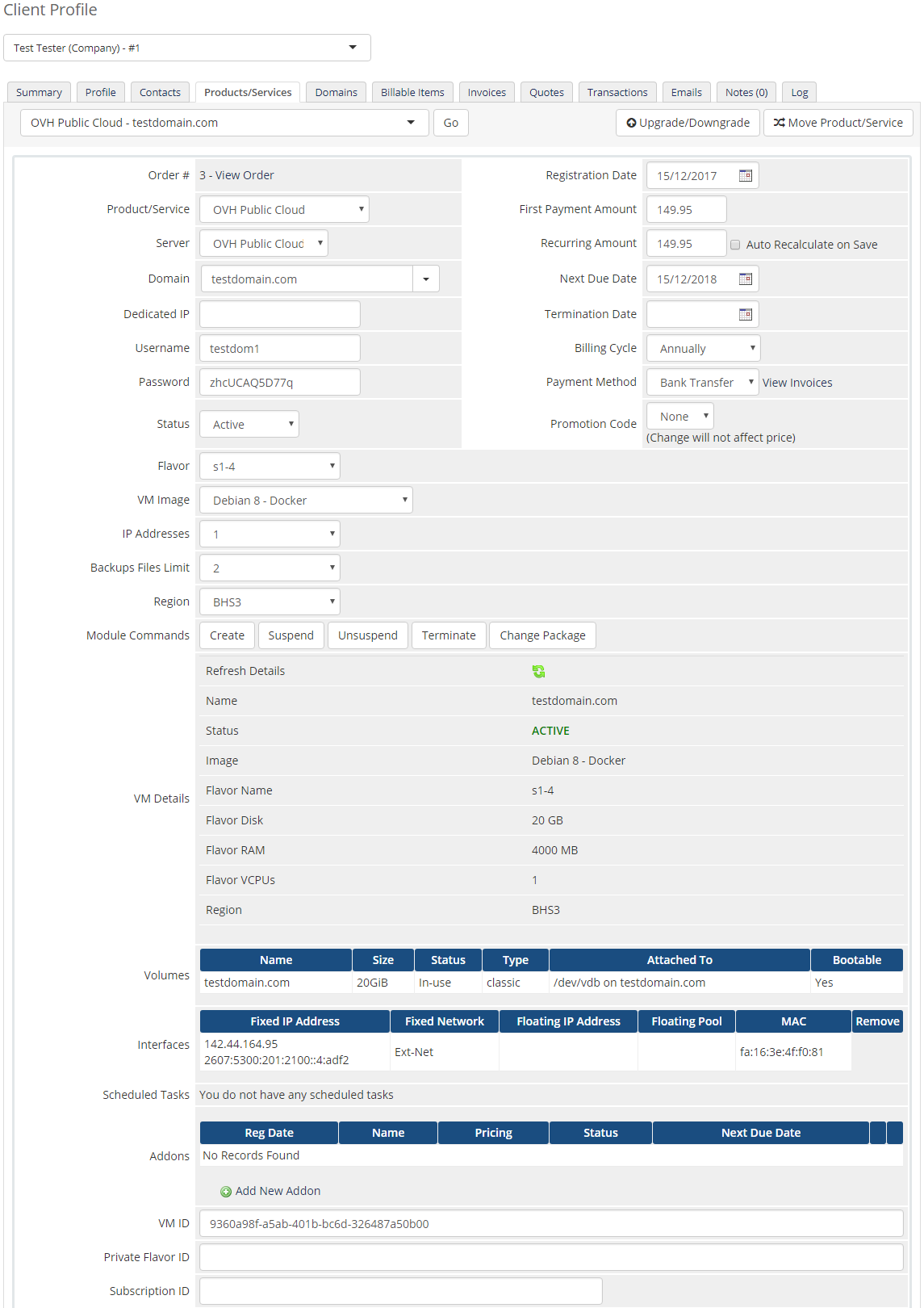 OVH Public Cloud For WHMCS: Screen 7