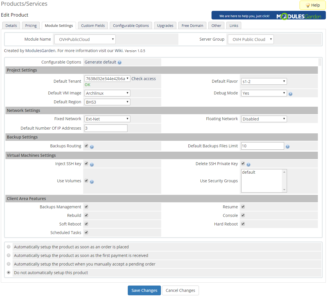 OVH Public Cloud For WHMCS: Screen 8