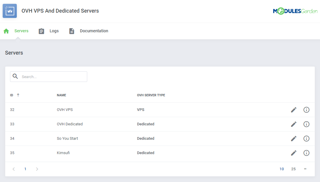 OVH VPS & Dedicated Servers For WHMCS: Module Screenshot 12