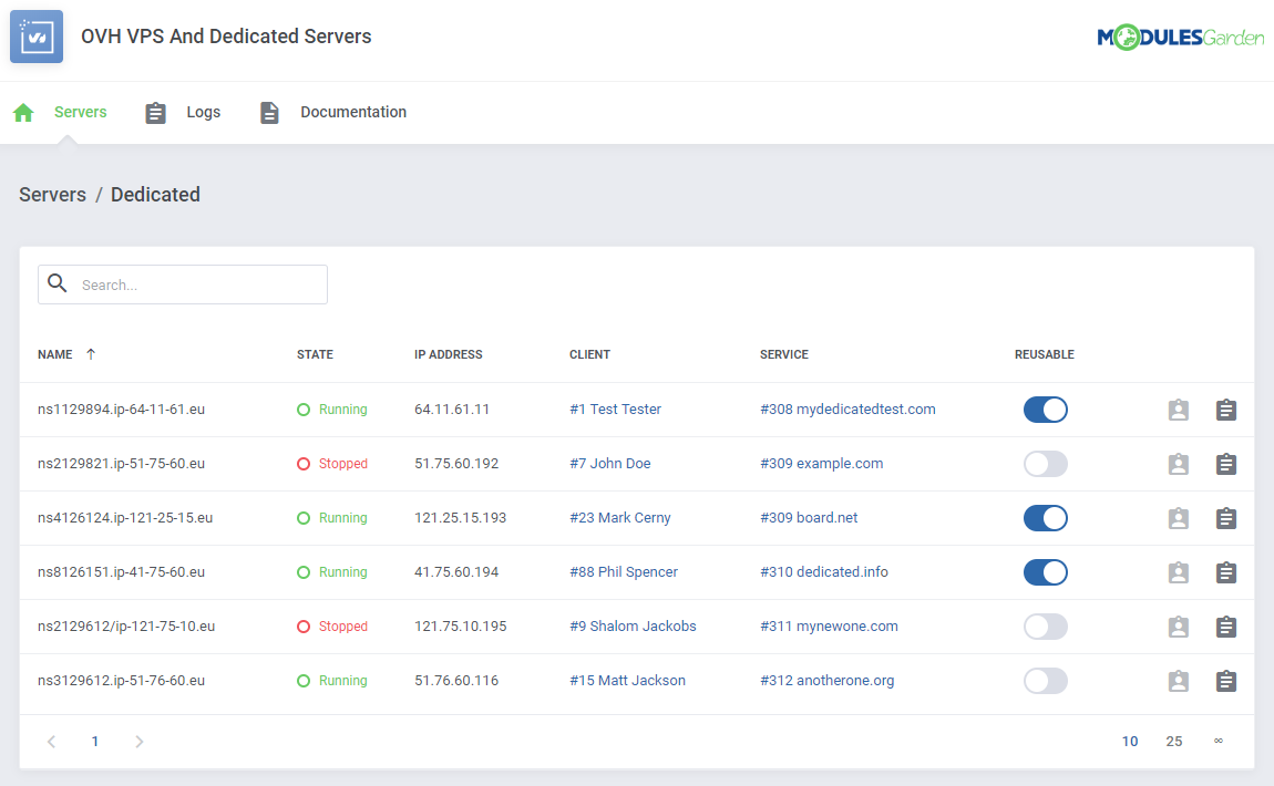 OVH VPS & Dedicated Servers For WHMCS: Module Screenshot 13