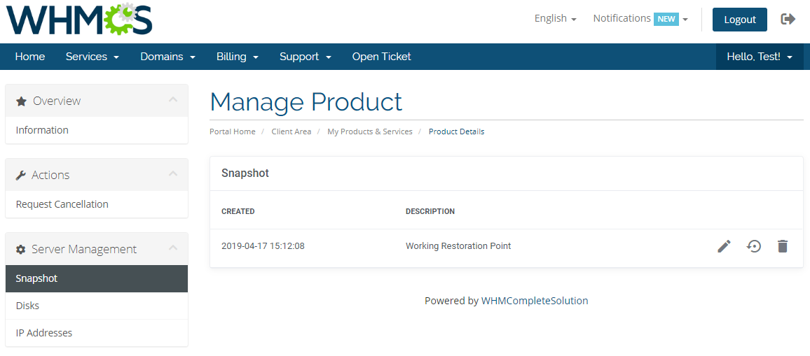 OVH VPS & Dedicated Servers For WHMCS: Module Screenshot 6