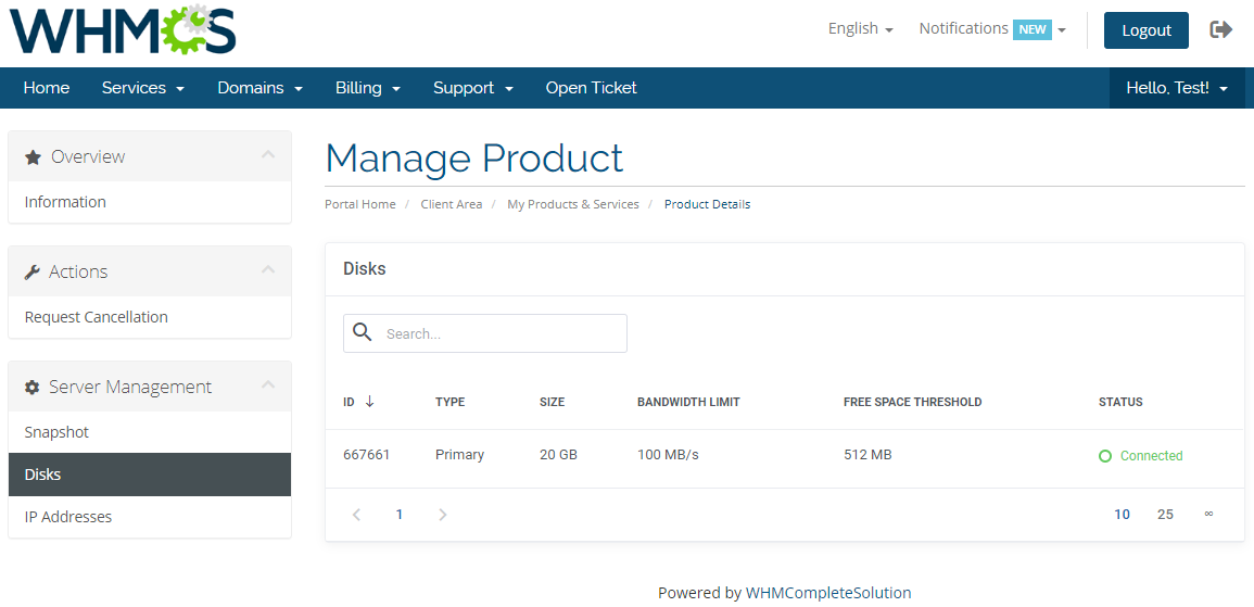 OVH VPS & Dedicated Servers For WHMCS: Module Screenshot 7