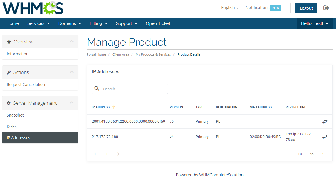 OVH VPS & Dedicated Servers For WHMCS: Module Screenshot 4