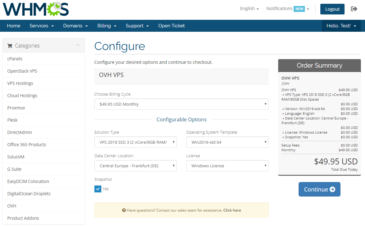 OVH VPS & Dedicated Servers For WHMCS: Module Screenshot 9
