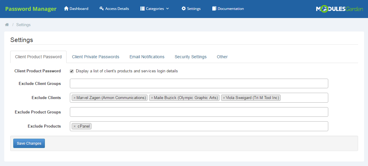 Password Manager For WHMCS: Screen 16