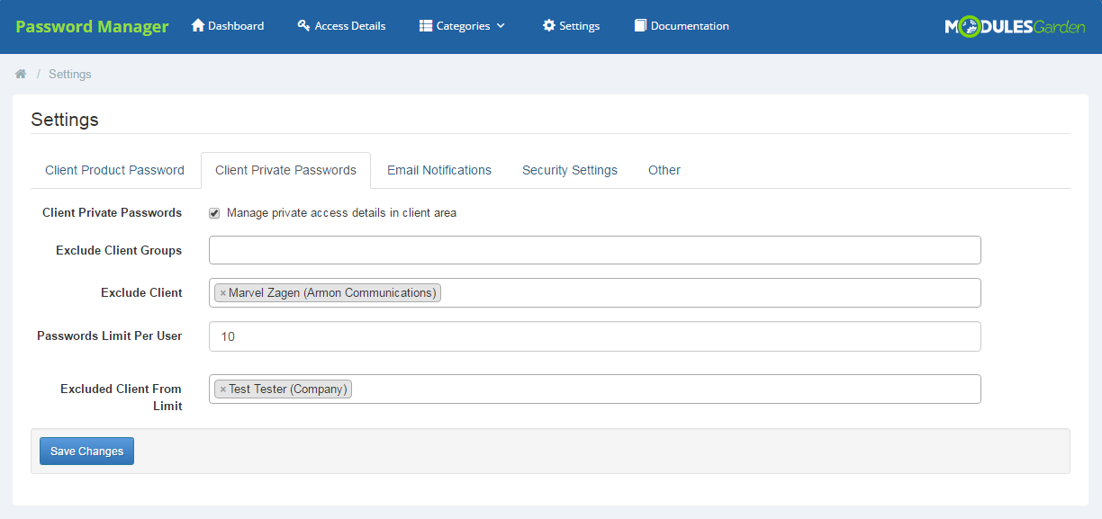 Password Manager For WHMCS: Screen 17