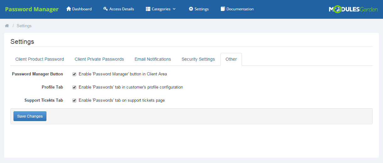 Password Manager For WHMCS: Screen 20