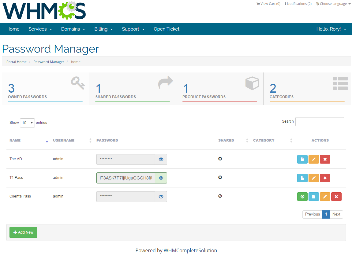 Password Manager For WHMCS: Screen 1
