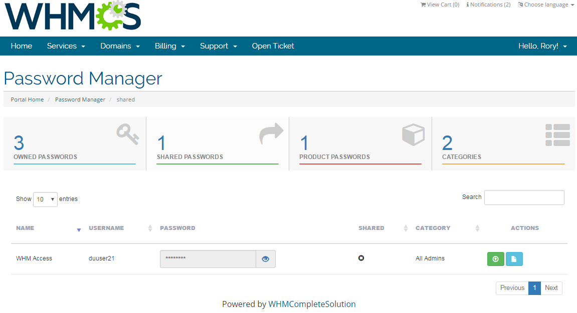 Password Manager For WHMCS: Screen 4
