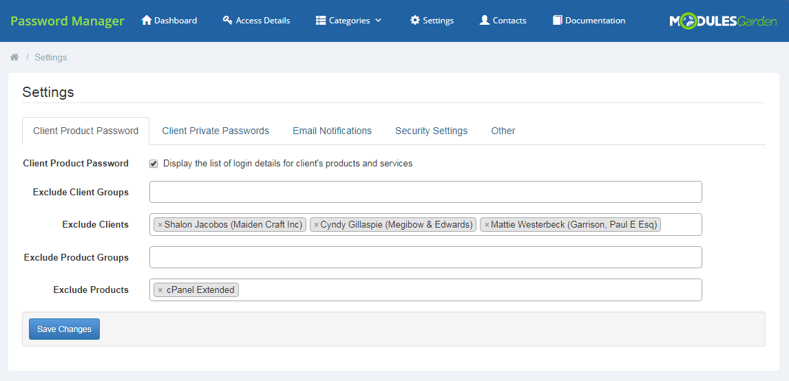 Password Manager For WHMCS: Screen 19