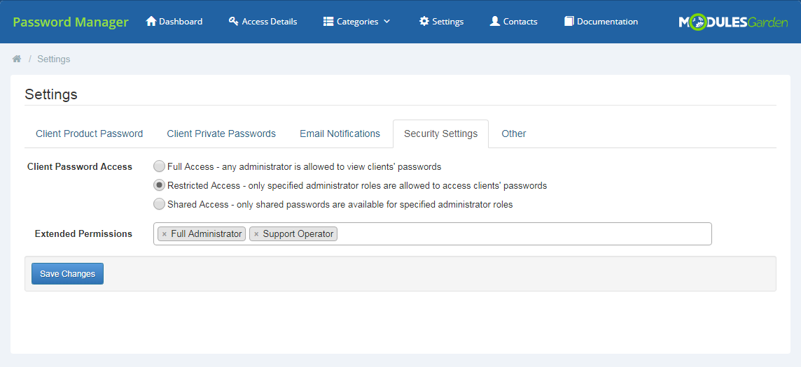 Password Manager For WHMCS: Screen 22