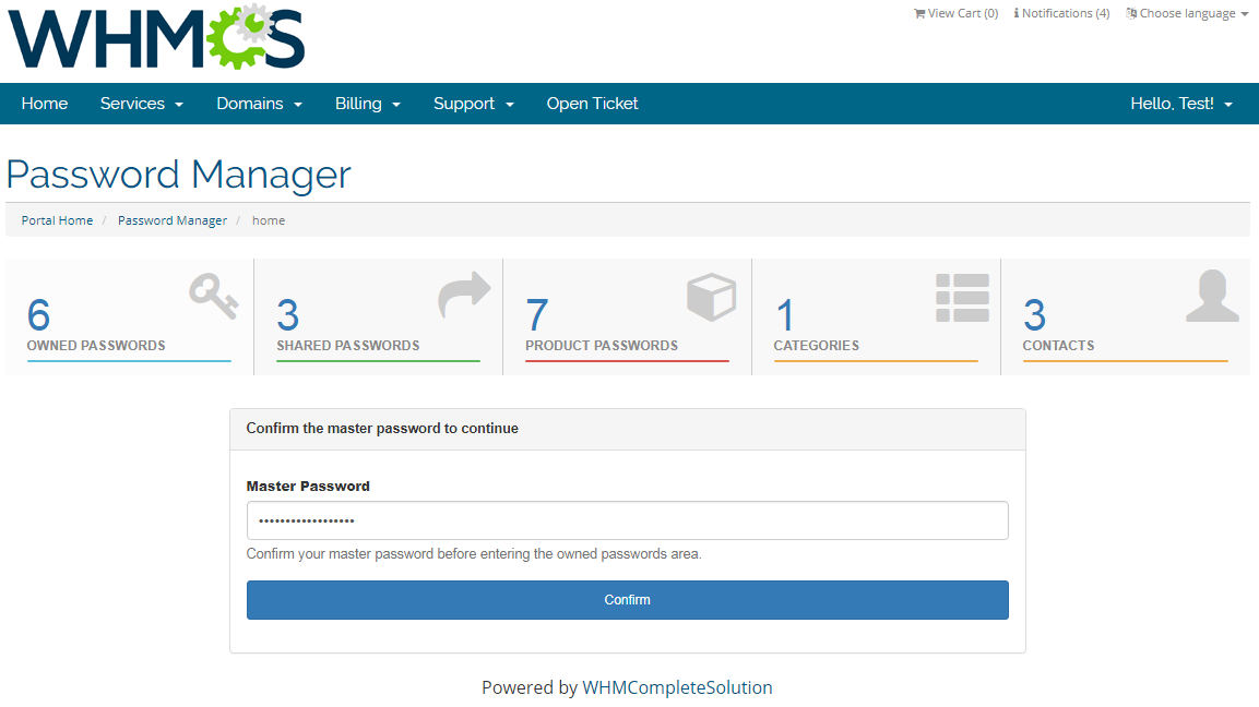 Password Manager For WHMCS: Screen 5