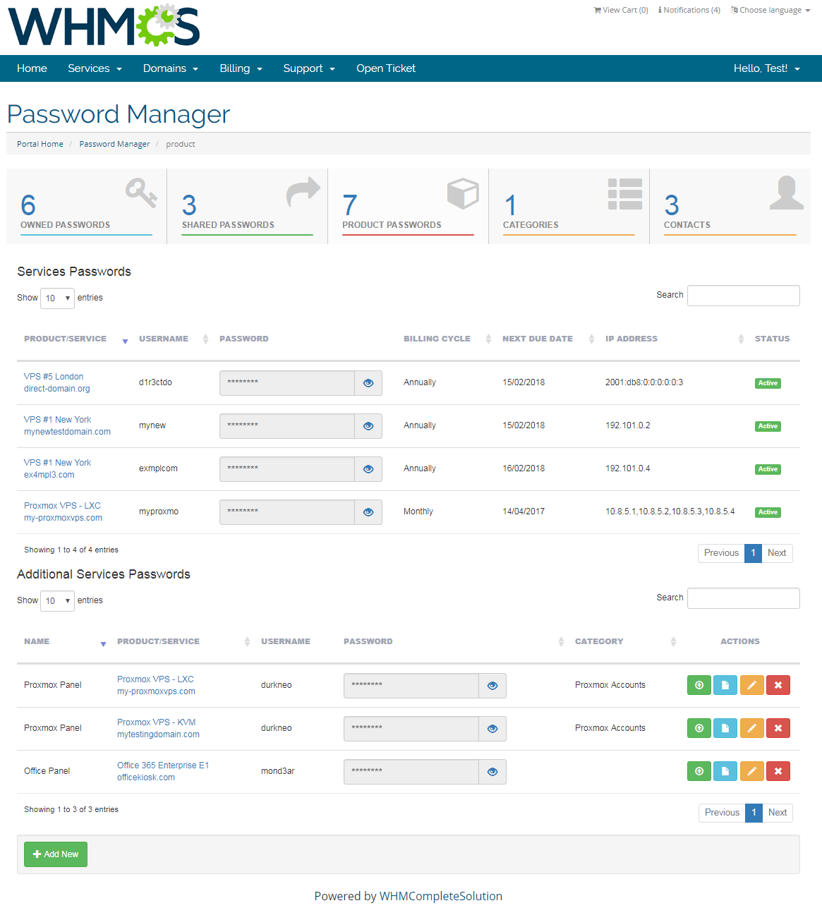 Password Manager For WHMCS: Screen 7