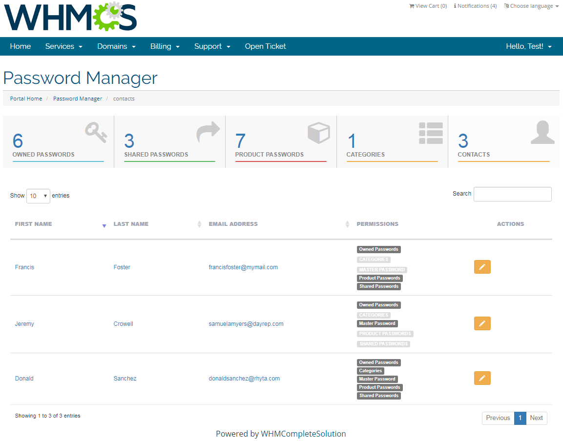 Password Manager For WHMCS: Screen 9