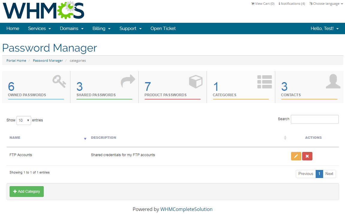 Password Manager For WHMCS: Screen 8