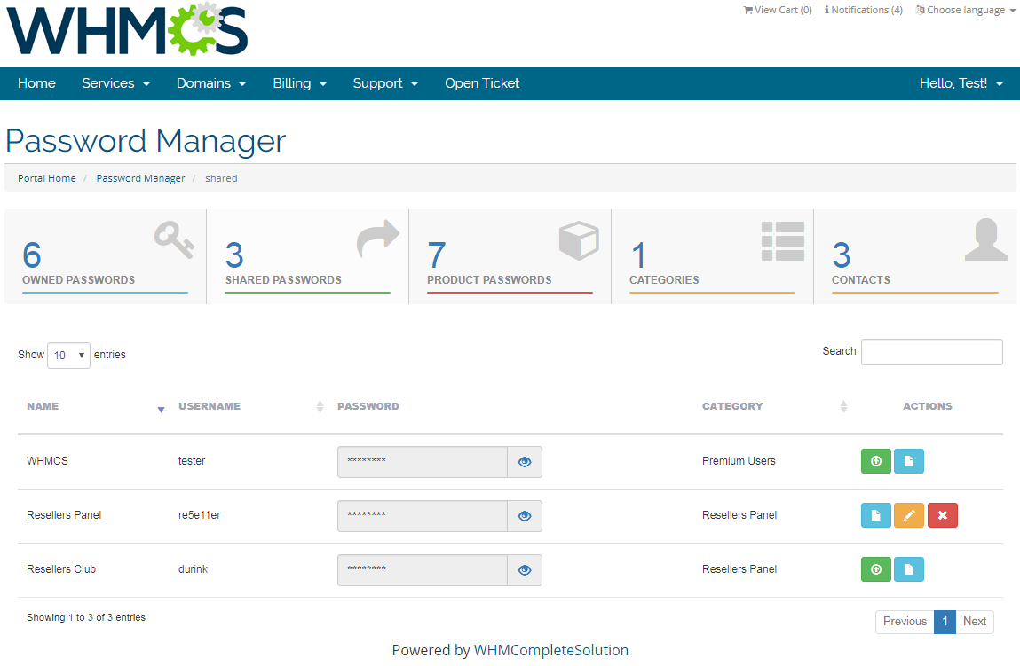 Password Manager For WHMCS: Screen 6