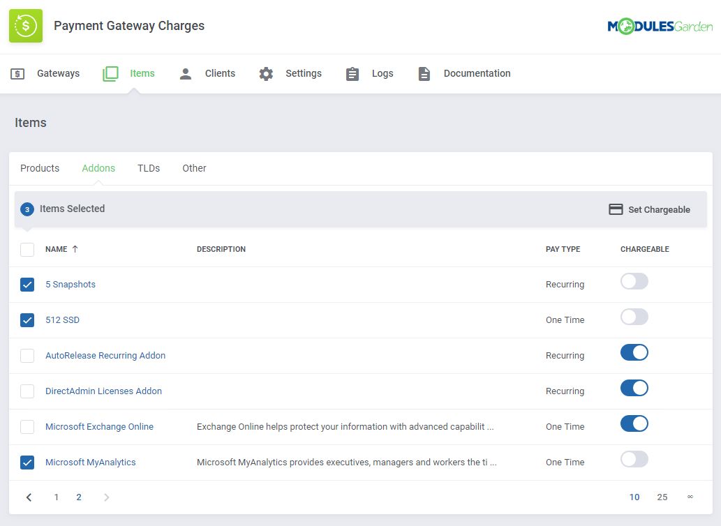 Payment Gateway Charges For WHMCS: Module Screenshot 13